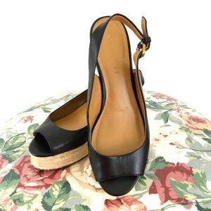 Coach Hadley Peep-Toe Espadrille Black Size 7.5